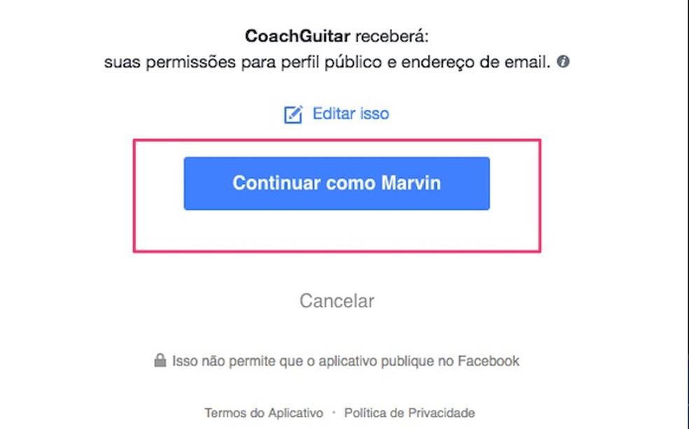 When creating a Coach Guitar account using Facebook login Photo: Reproduo / Marvin Costa