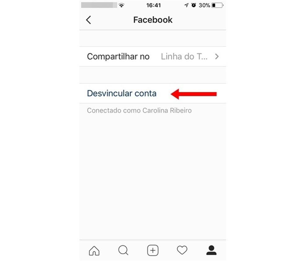 Finalize the process of unlinking Instagram from Facebook Photo: Reproduo / Carolina Ribeiro