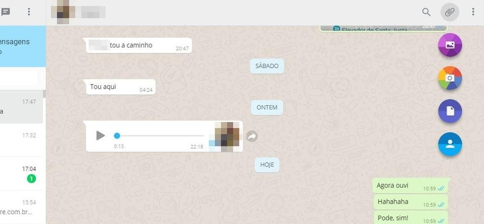 WhatsApp Web offers more file options to send Photo: Reproduo / Taysa Coelho