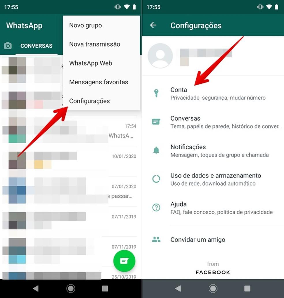 Access your WhatsApp account settings Photo: Reproduo / Helito Beggiora