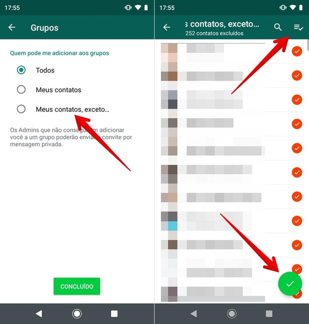 Adding exceptions to WhatsApp Photo: Reproduo / Helito Beggiora