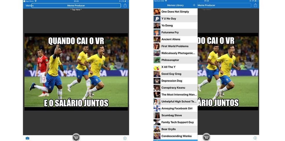 Meme Producer option to create memes on iOS simply and quickly Photo: Reproduo / Isabela Giantomaso (Photo: Divulgao / FIFA)