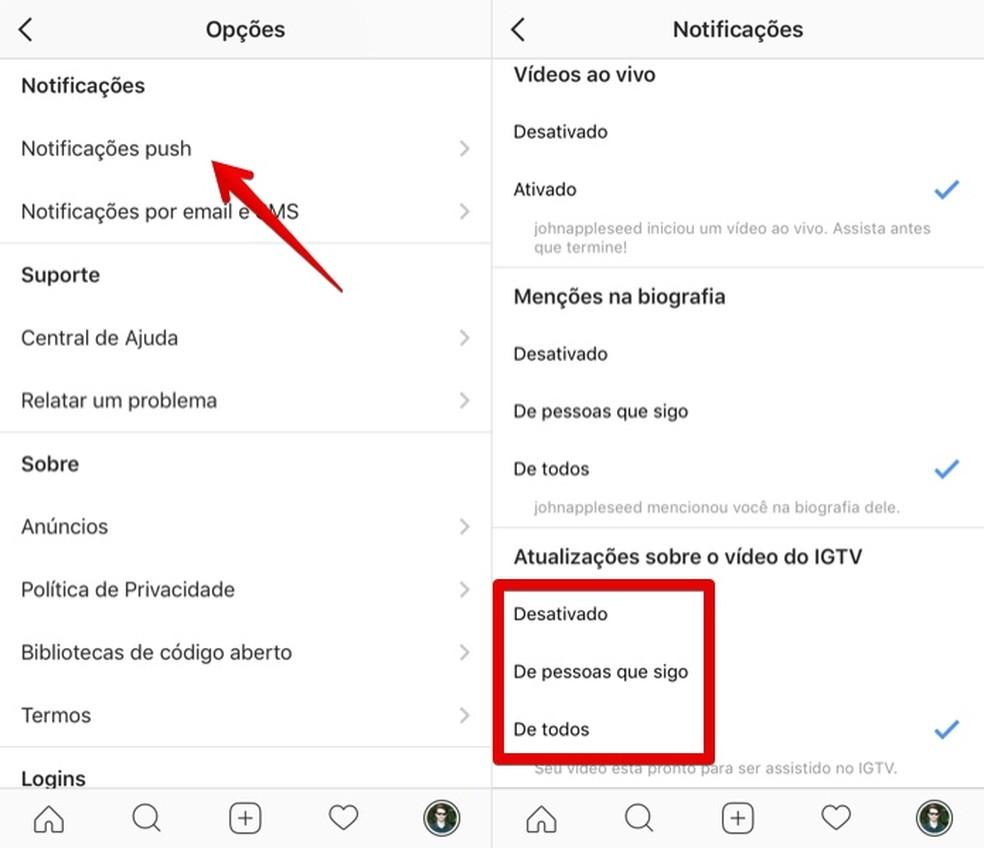 Configuring IGTV notifications Foto: Reproduo / Helito Bijora