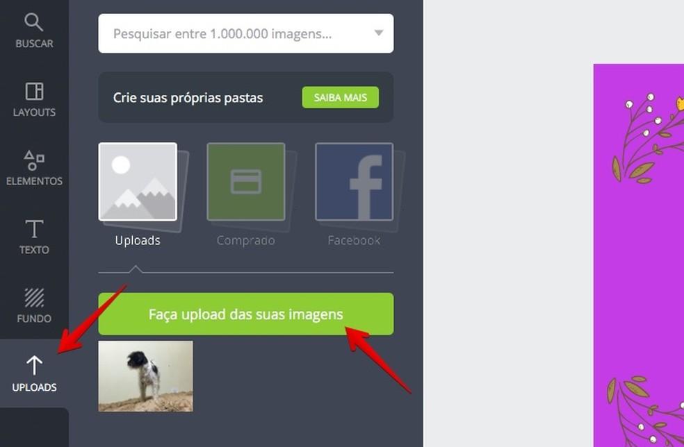 Uploading photo to use in Canva Photo: Reproduo / Helito Bijora