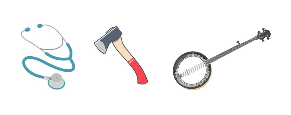 Stethoscopes, axes and banjo are among suggested emojis Photo: Divulgao / Unicode