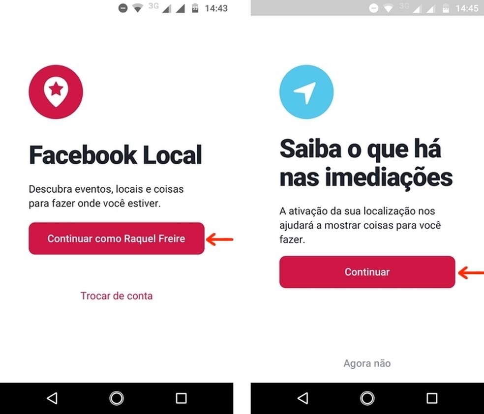 Initial login screens for the Facebook Local app Photo: Reproduo / Raquel Freire