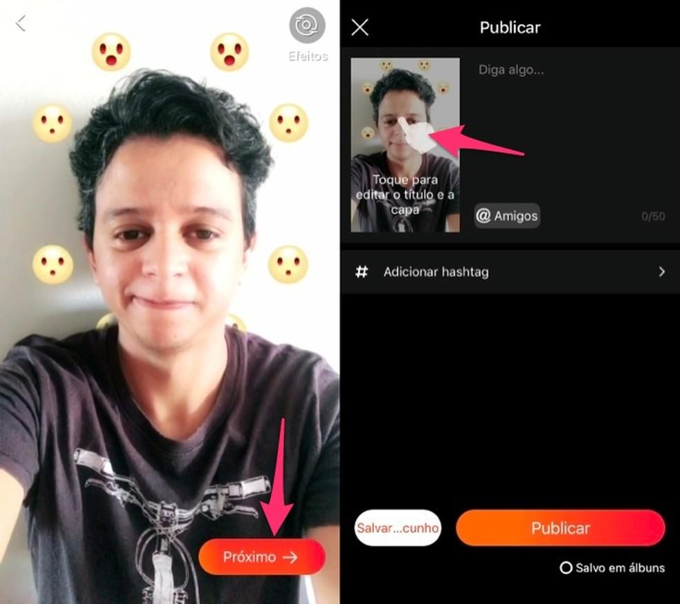 Creates a publication in the Vigo Video app Photo: Reproduction / Marvin Costa