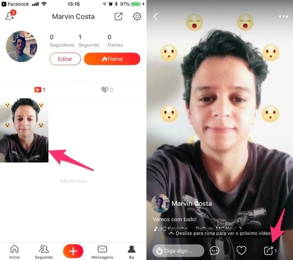 View the Vigo Video app's media sharing tool Photo: Reproduo / Marvin Costa