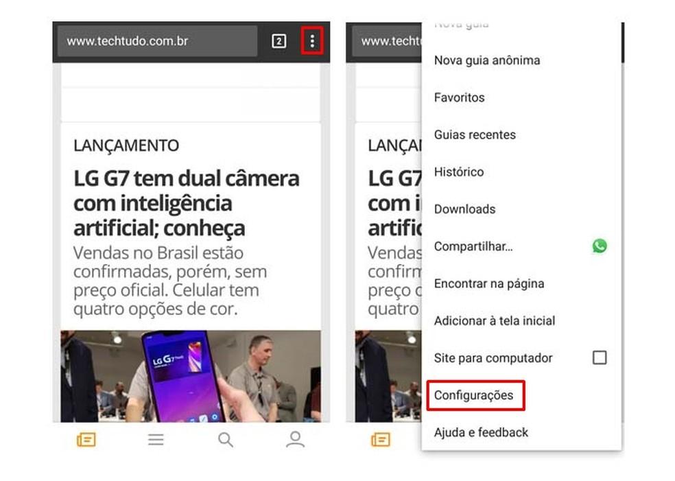 Access Chrome settings on Android Photo: Reproduction / Taysa Coelho