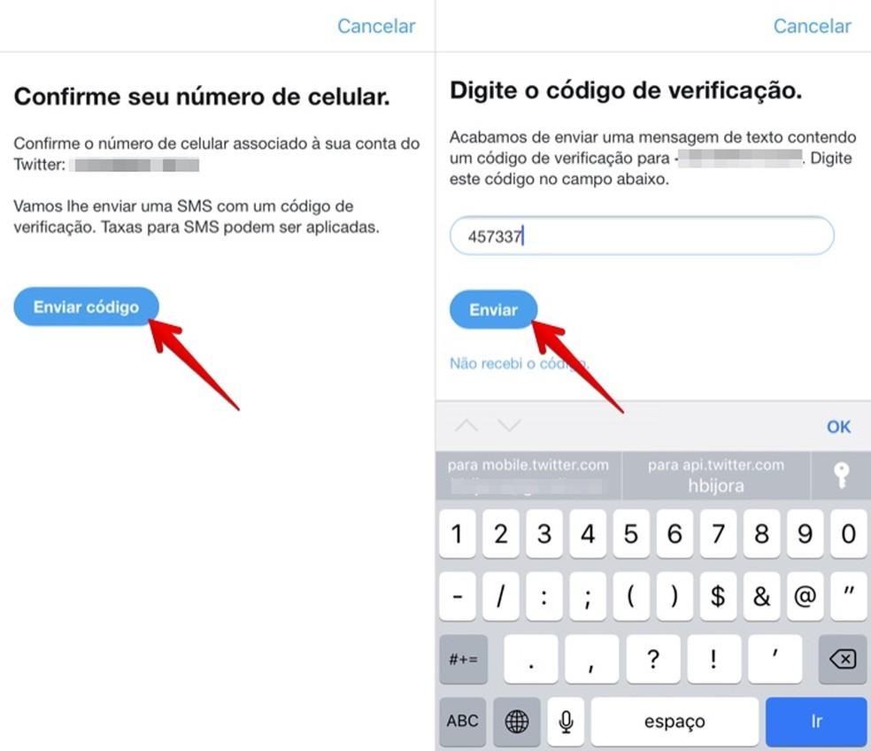 Confirm your phone number Photo: Reproduo / Helito Bijora