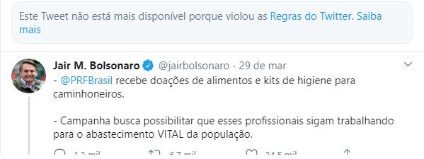 Print with Jair Bolsonaro's second tweet deleted
