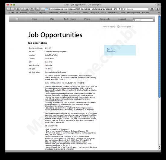 Job vacancy indicates MacBooks with 3G?