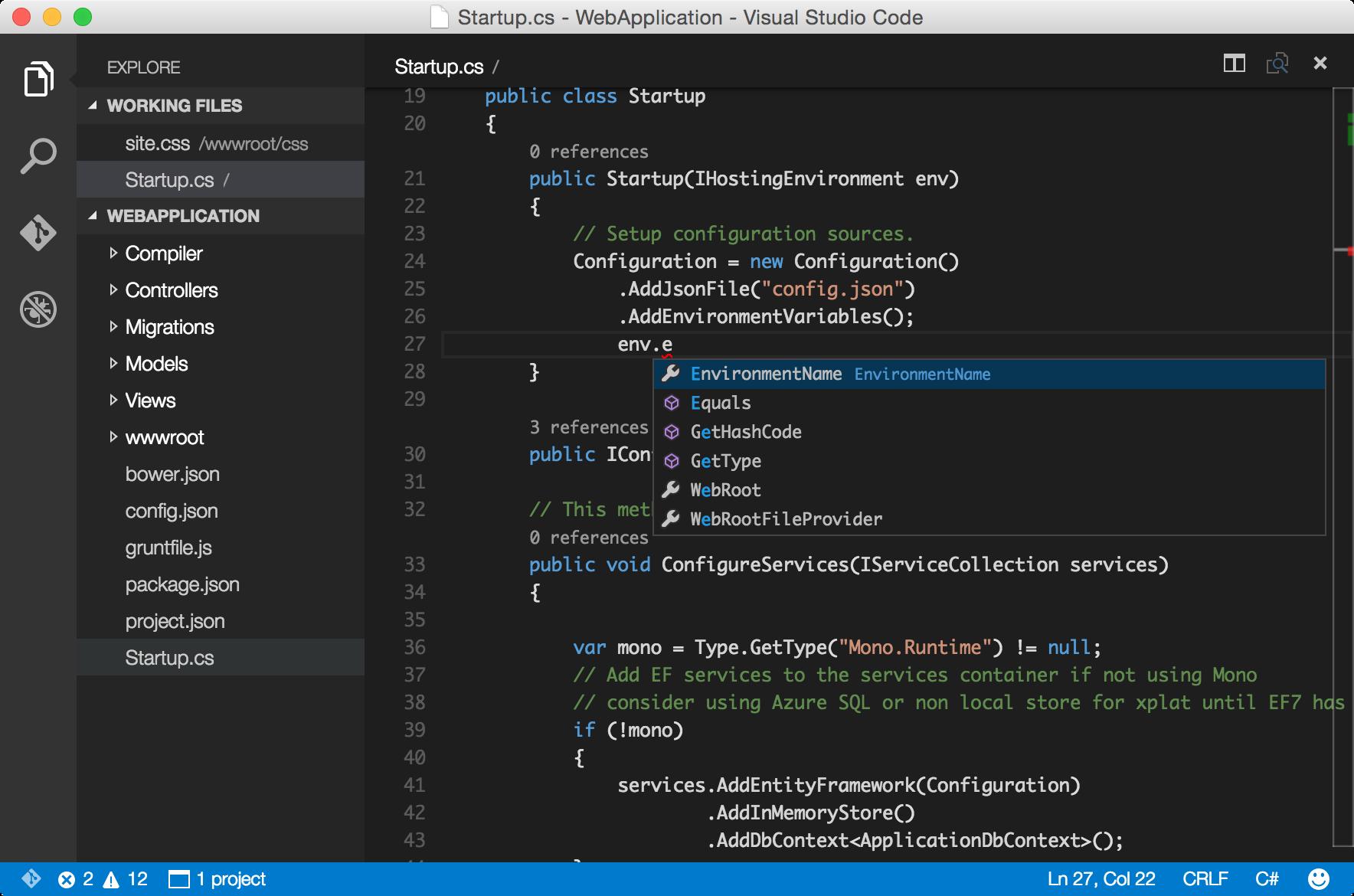 Visual Studio Code for OS X