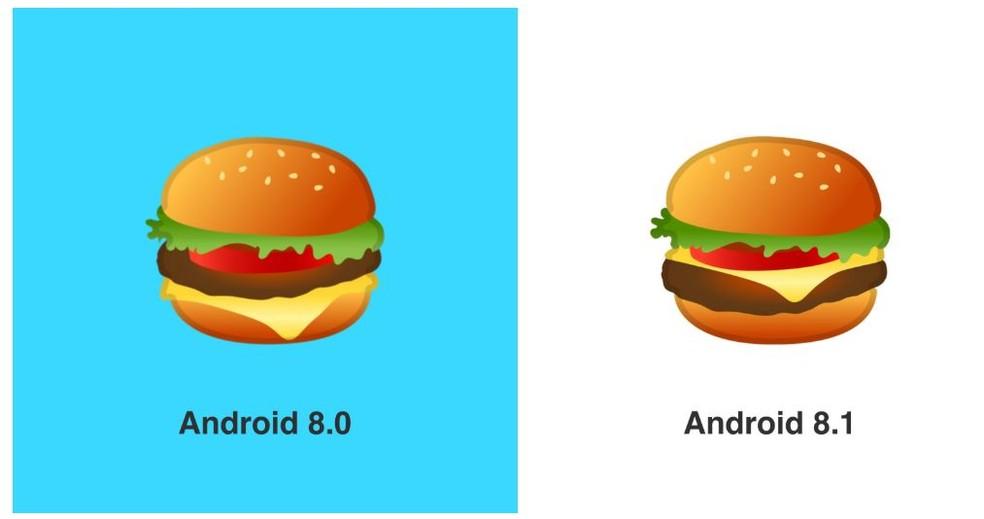 Cheese changed position in Google's hamburger emoji Photo: Reproduo / Emojipedia