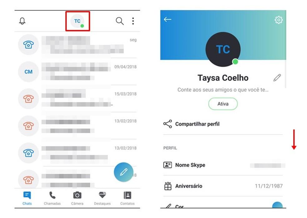 Access the Skype settings Photo: Reproduction / Taysa Coelho