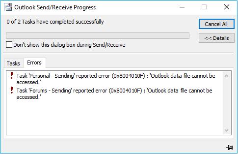 outlook error, application popup