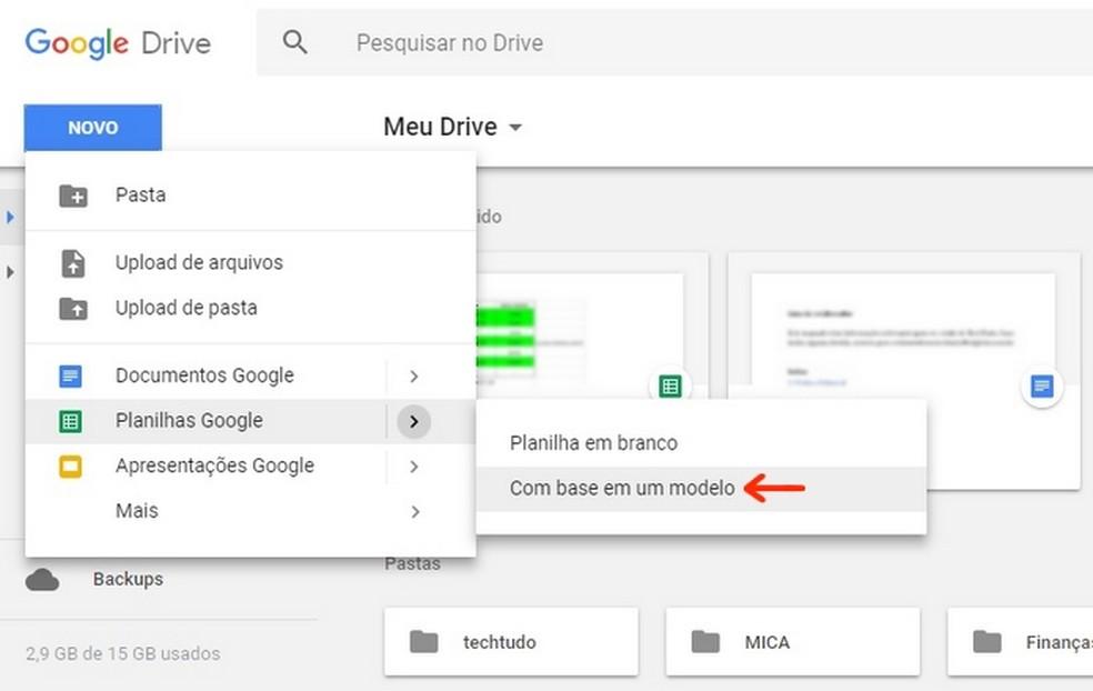 Access to ready-made Google spreadsheet templates Photo: Reproduo / Raquel Freire