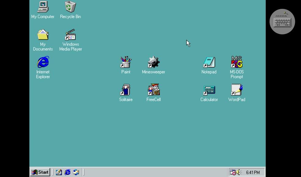 Application faithfully reproduces the Windows 98 screen on the cell phone Photo: Reproduo / Rodrigo Fernandes