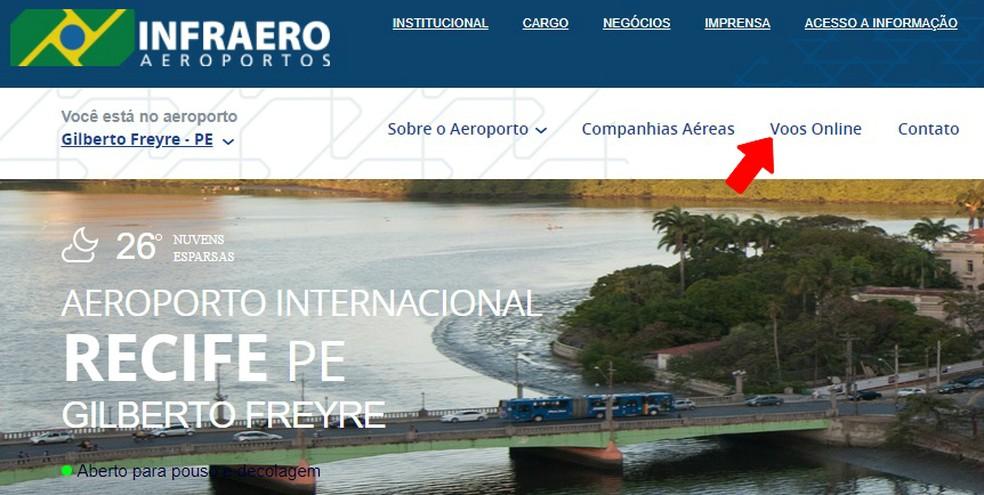 Access the Online Flights tab to view travel schedules on the Infraero website Photo: Reproduo / Rodrigo Fernandes