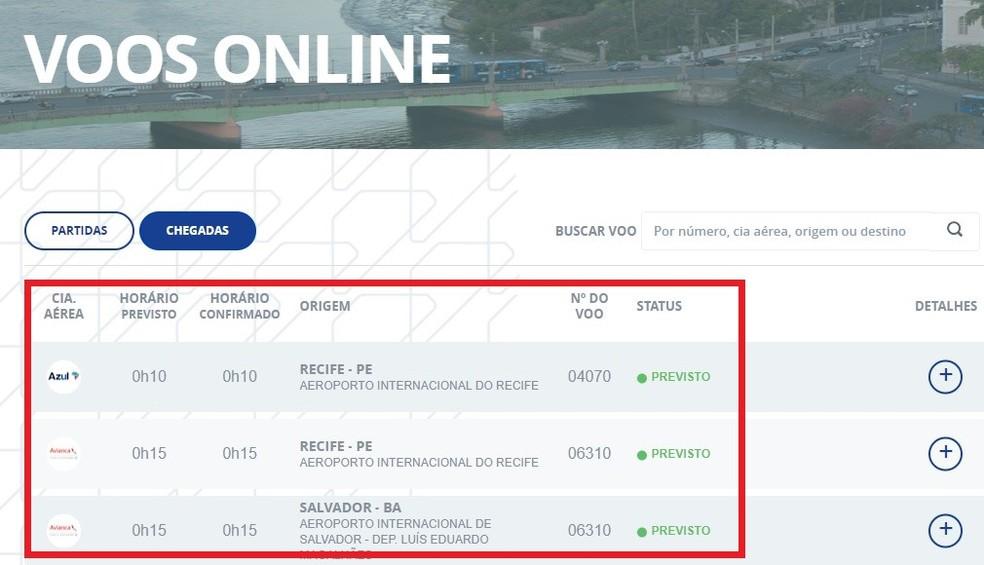 Infraero website shows flight schedules Photo: Reproduo / Rodrigo Fernandes
