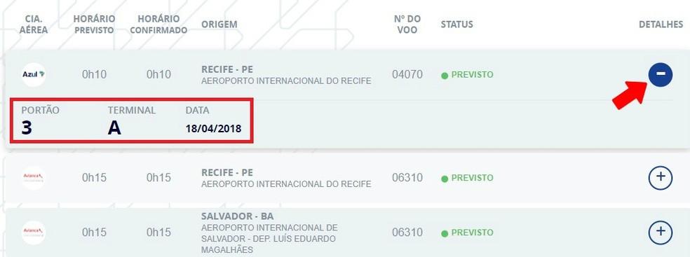 Infraero website d flight details Photo: Reproduo / Rodrigo Fernandes