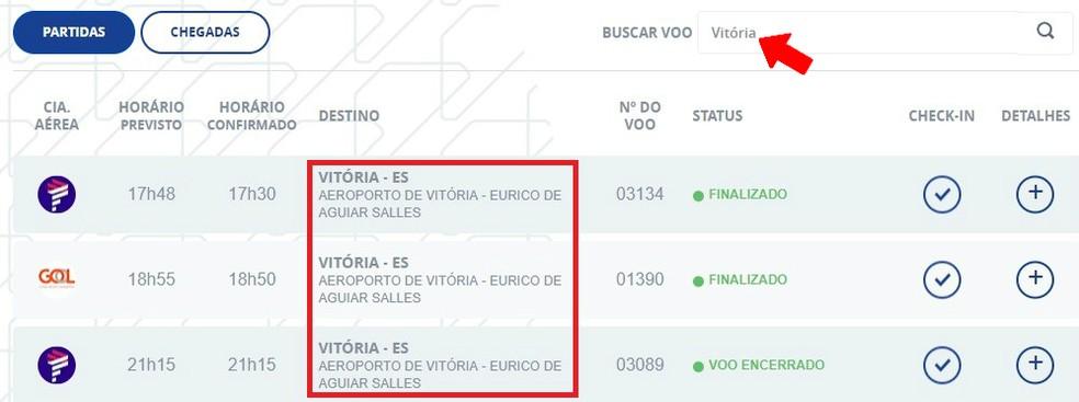 Search to find the right flight on the Infraero website Photo: Reproduo / Rodrigo Fernandes