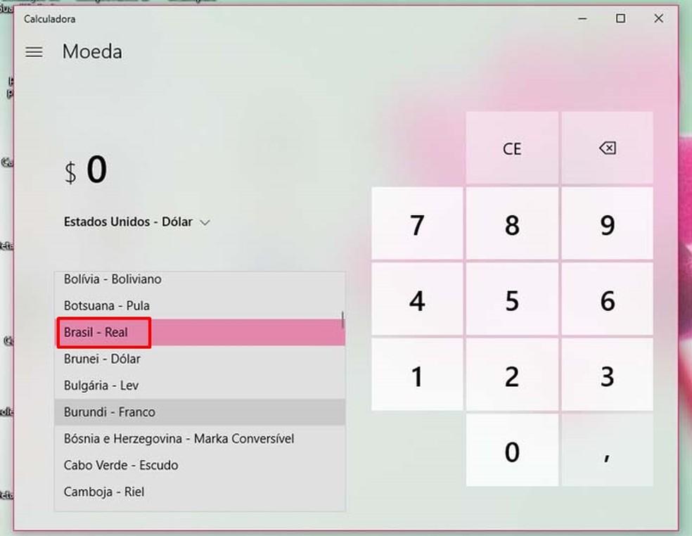 Choose the desired currency in the Windows 10 converter menu Photo: Reproduo / Taysa Coelho