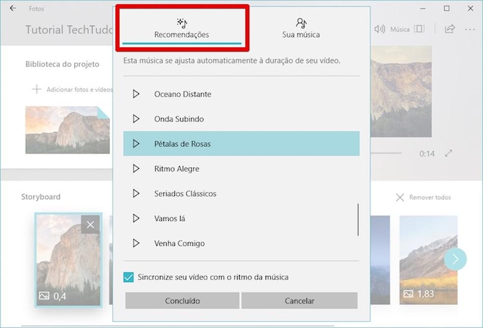Customizing video music on Windows Story Remix Photo: Reproduo / Helito Bijora