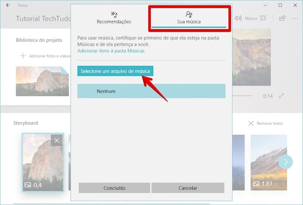 Using custom music to edit video in Windows Story Remix Photo: Reproduo / Helito Bijora