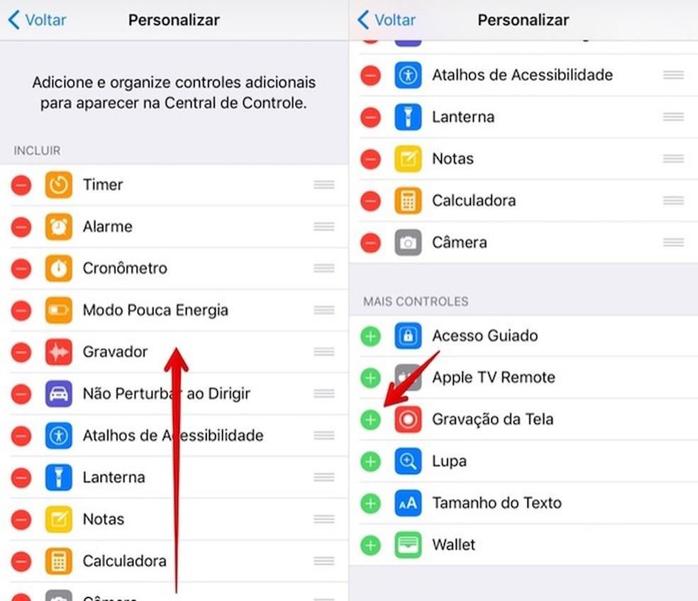 Add the screen recording icon Photo: Reproduction / Helito Bijora