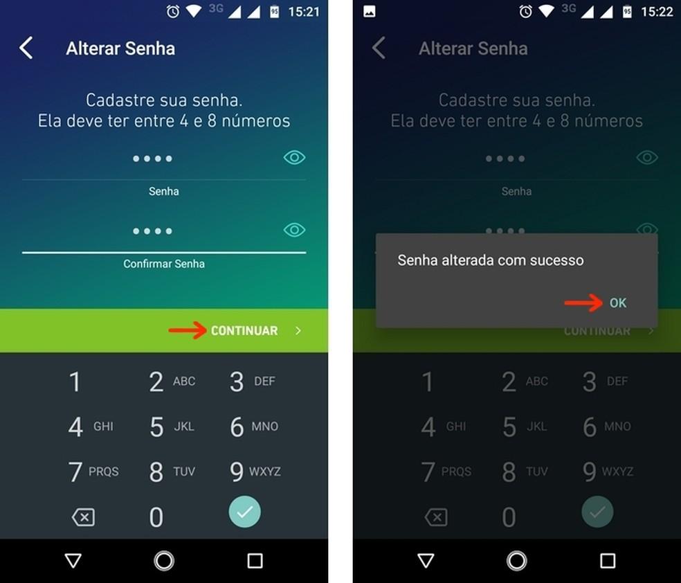 Password change in the Agibank app Photo: Reproduo / Raquel Freire