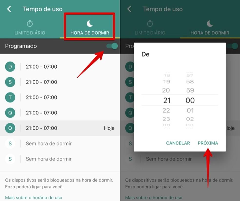 Google Family Link: cell phone lock at night Photo: Reproduo / Helito Bijora