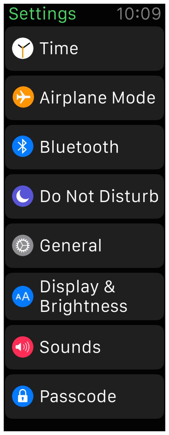 Apple Watch settings screen