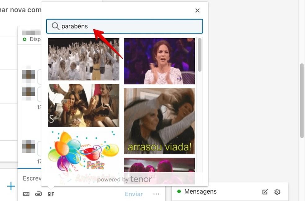 Using GIF search on LinkedIn Photo: Reproduo / Helito Bijora