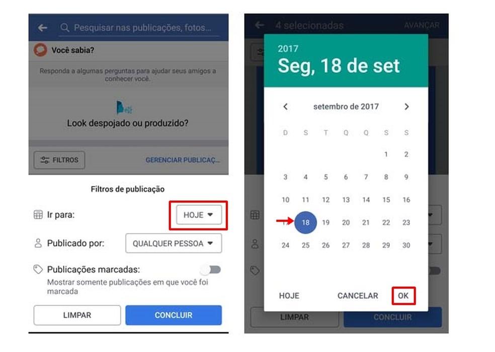 Choose a date in the Facebook filter Photo: Reproduo / Taysa Coelho