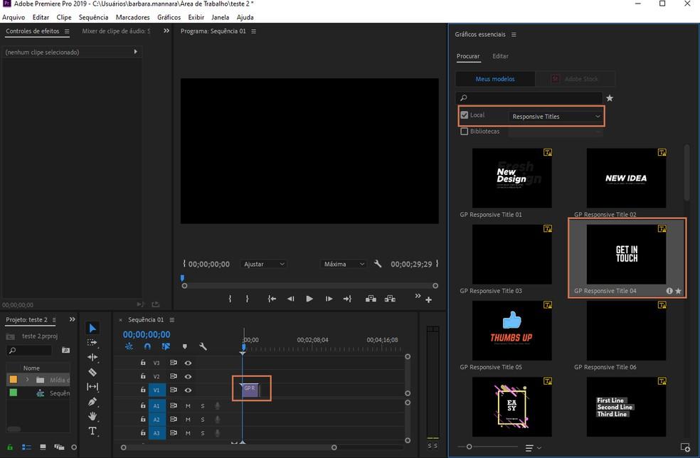 Drag the chosen preset to the Premiere editing timeline Photo: Reproduo / Barbara Mannara