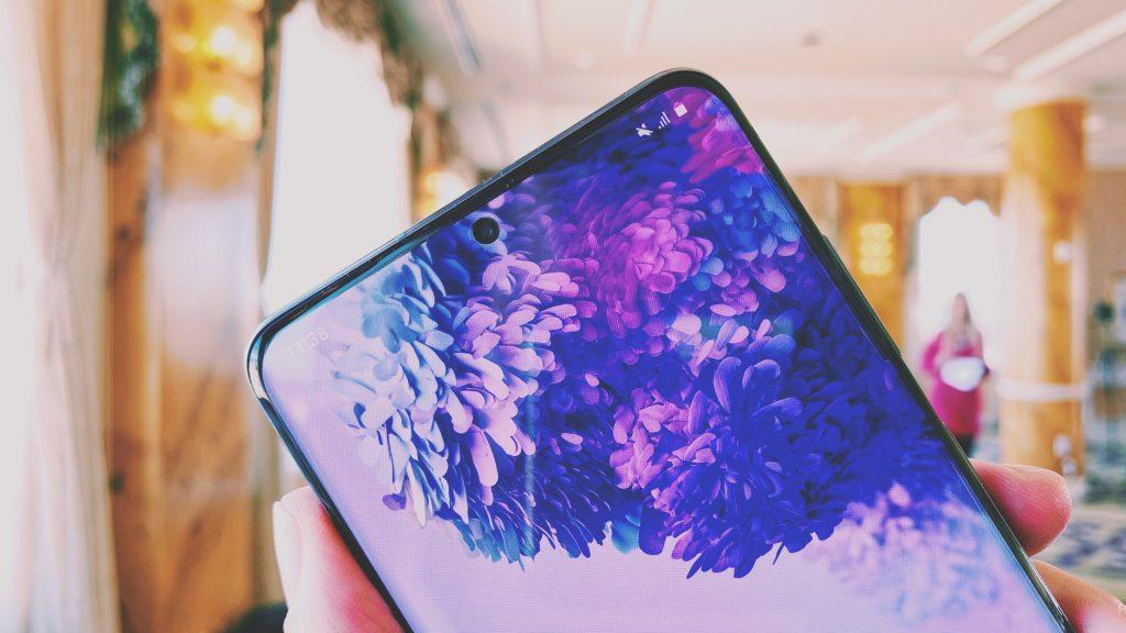 Samsung Galaxy S20 smartphone screen