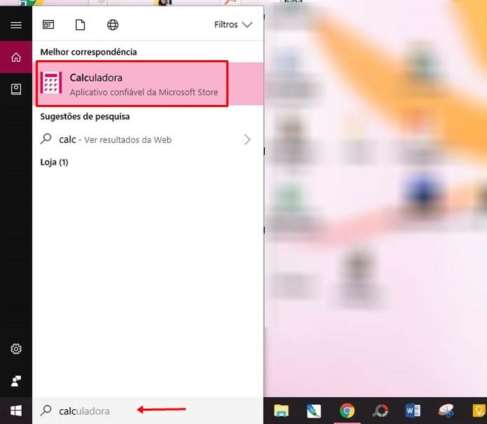 "Type ""Calculator"" in the Windows 10 search field Photo: Reproduo / Taysa Coelho"