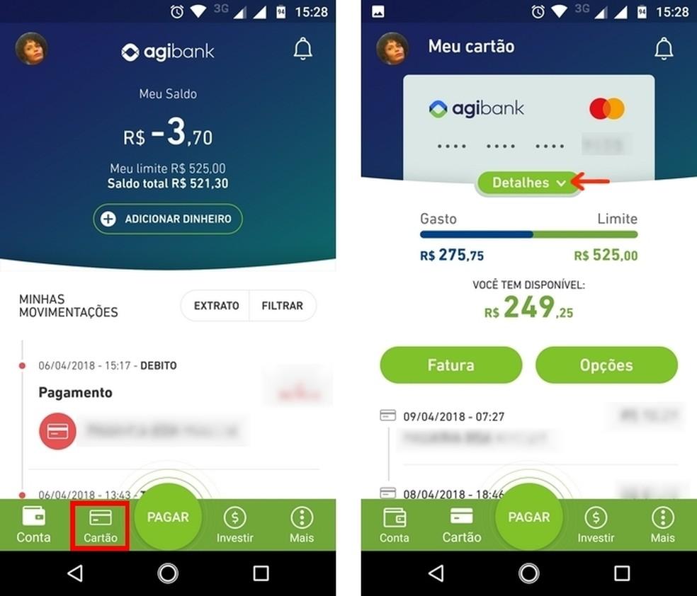 Agibank credit card menu on Android Photo: Reproduo / Raquel Freire
