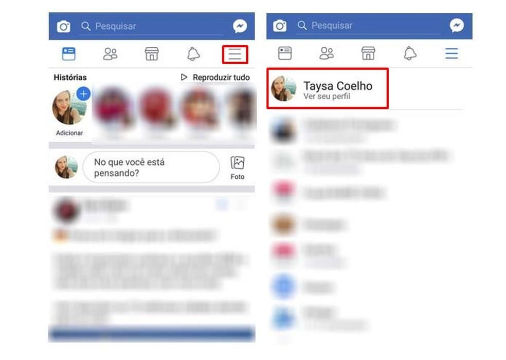 Access your Facebook profile Photo: Reproduo / Taysa Coelho