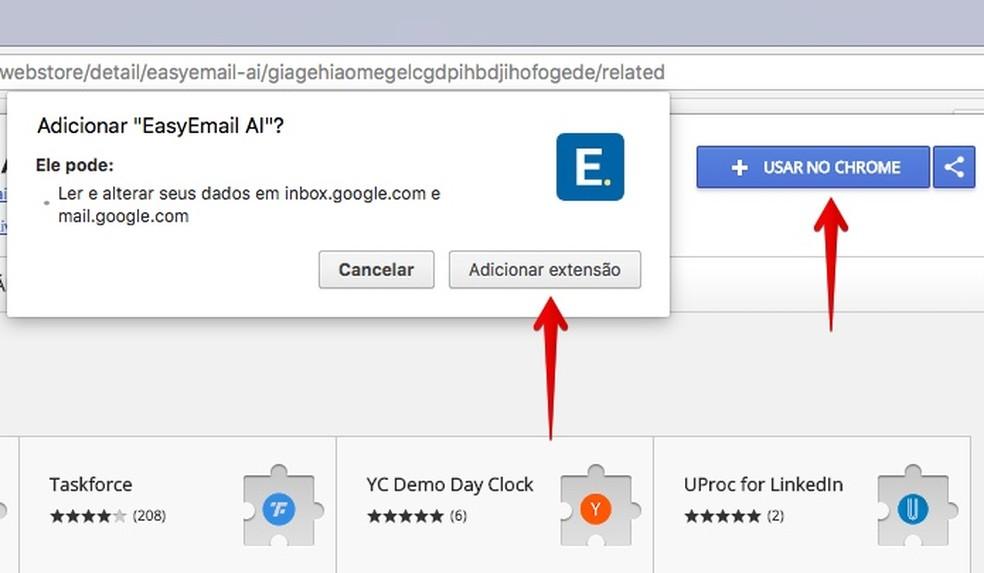 Install the EasyEmail AI extension on Chrome Photo: Reproduo / Helito Bijora