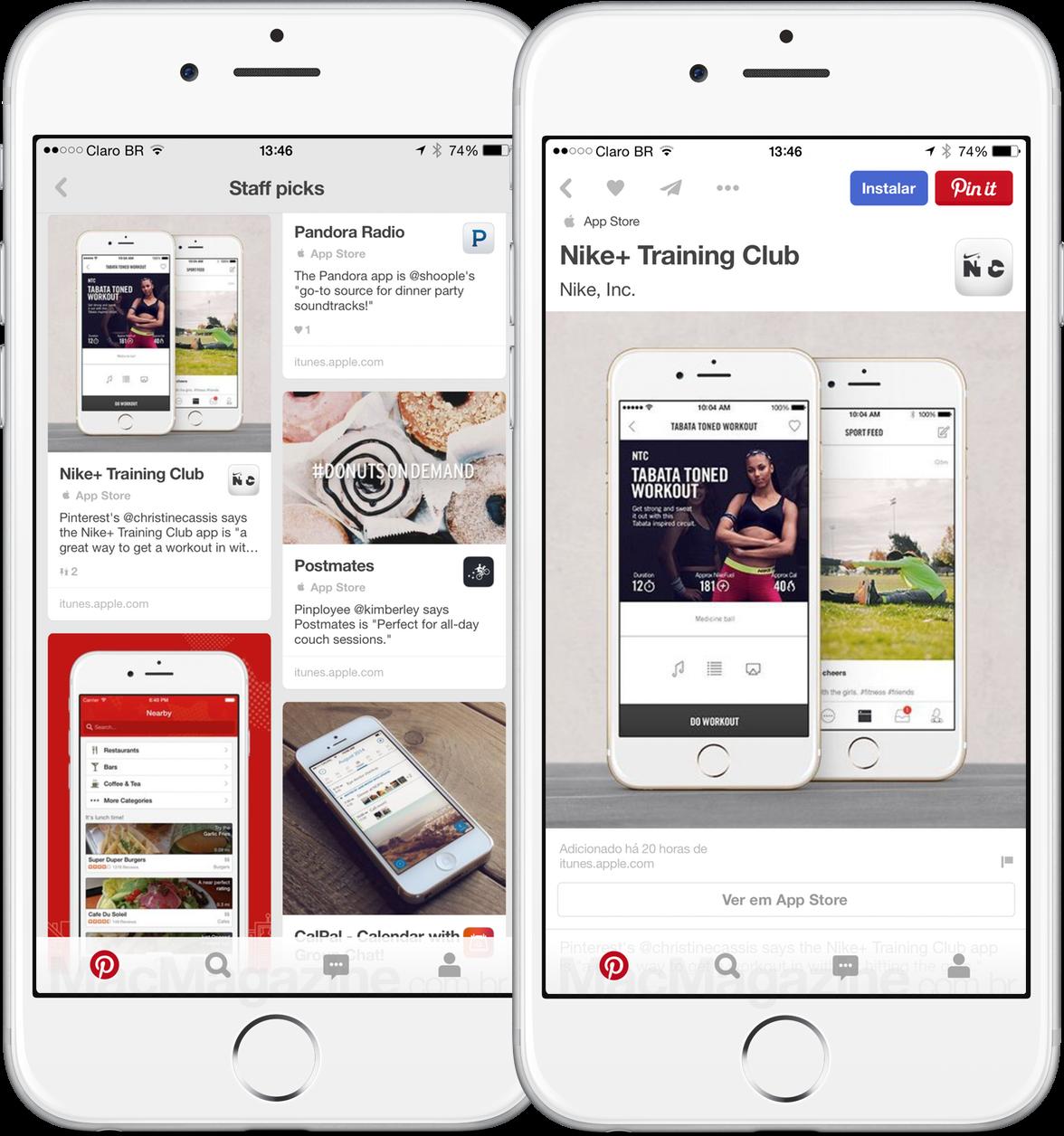 Installing apps from Pinterest