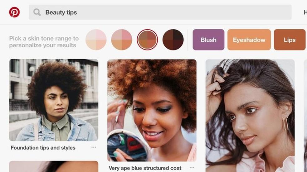Pinterest lana skin tone filter for searches on the social network Photo: Divulgao / Pinterest