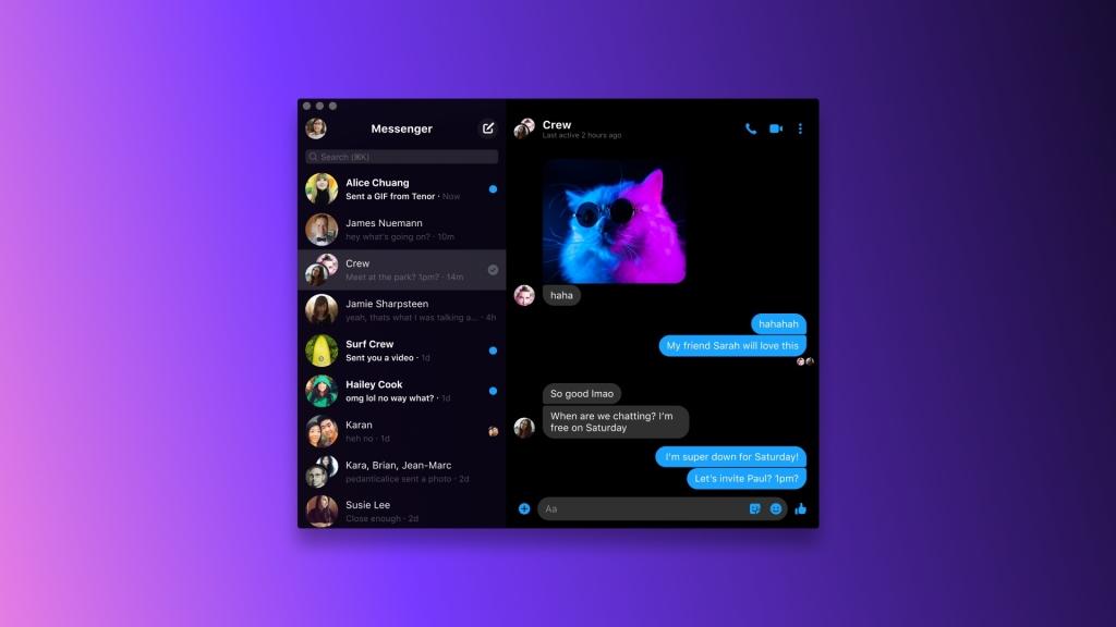Facebook Messenger app screen