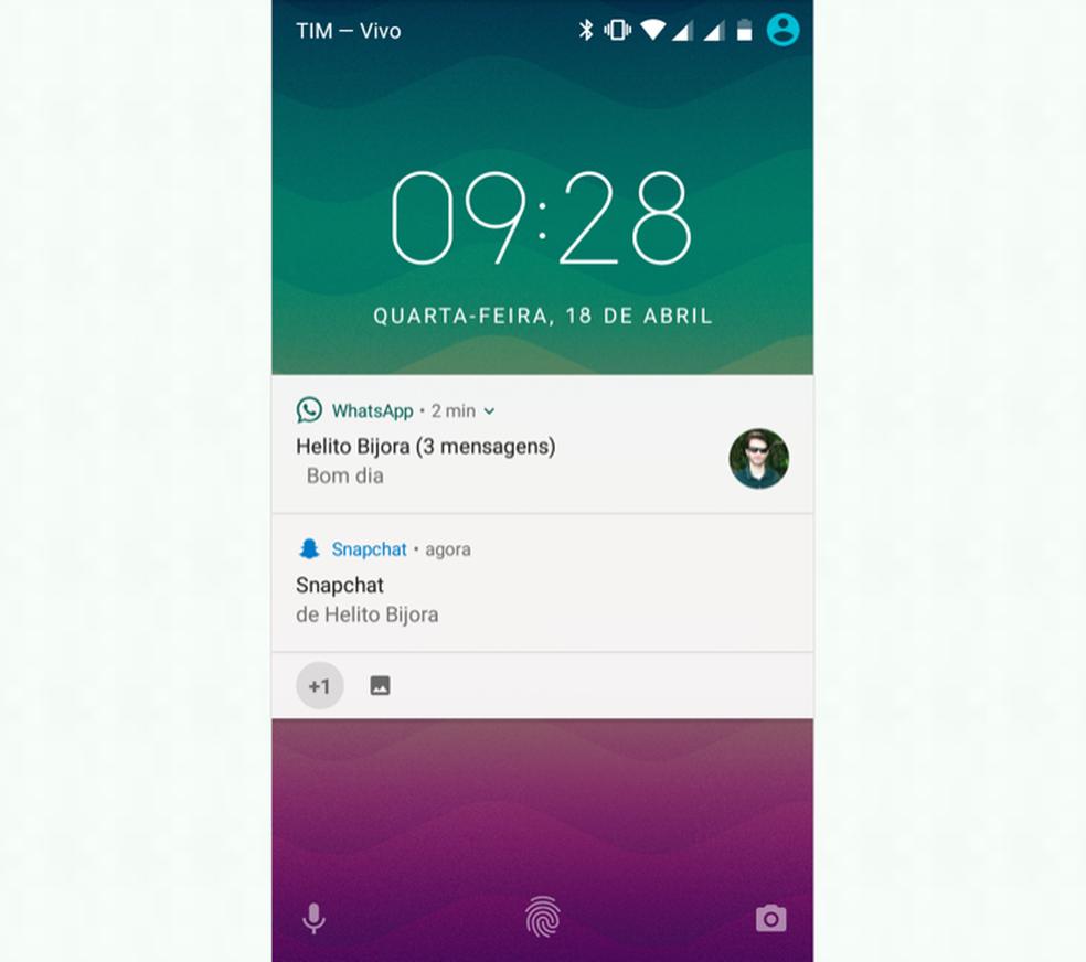 WhatsApp notifications will always be displayed at the top Photo: Reproduo / Helito Bijora