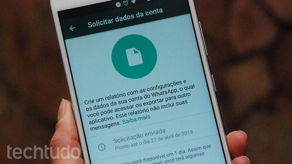 WhatsApp starts releasing tool to request data Photo: Raquel Freire / TechTudo