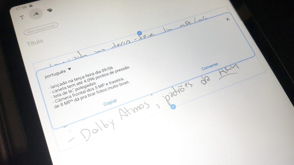 samsung tab s6 lite text transcription
