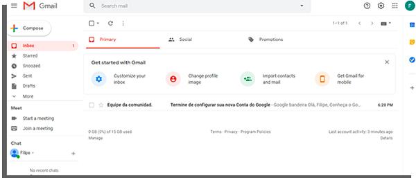 gmail home screen