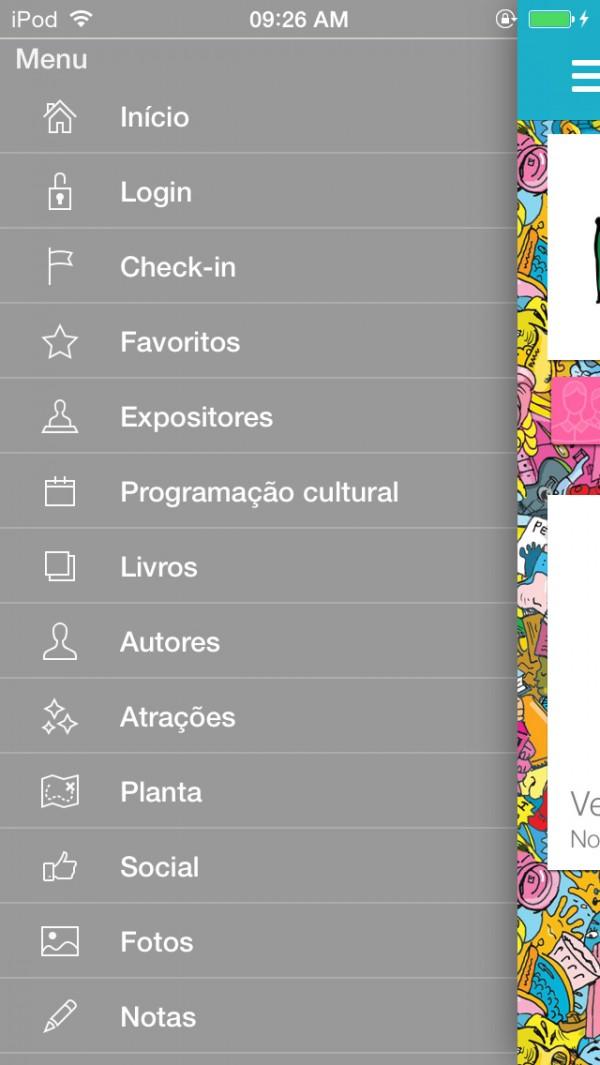 Screenshot of the So Paulo Book Biennial 2014 app
