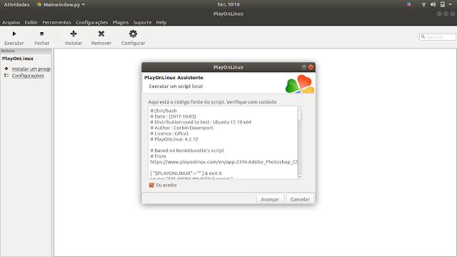 Running Adobe Script on PlayOnLinux